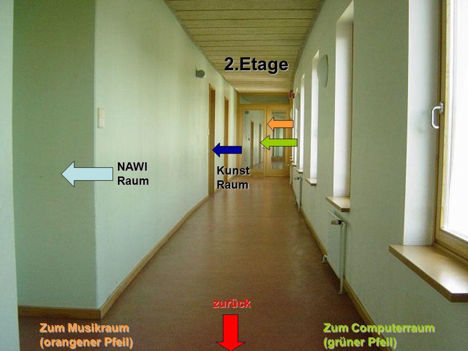 + zurück NAWI Raum 2.Etage Kunst Raum Zum Musikraum (orangener Pfeil) Zum Computerraum (grüner Pfeil)