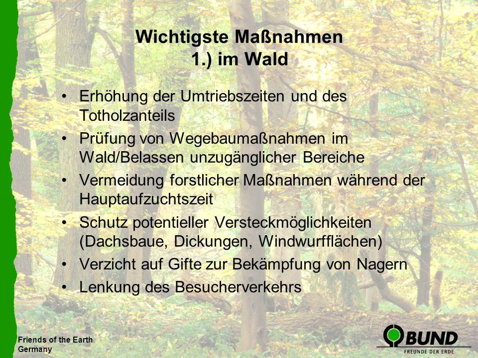Friends of the Earth Germany Wichtigste Maßnahmen 1.) im Wald Erhöhung der Umtriebszeiten und des Totholzanteils Prüfung von Wegebaumaßnahmen im Wald/