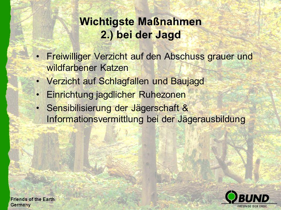 Friends of the Earth Germany Wichtigste Maßnahmen 2.) bei der Jagd Freiwilliger Verzicht auf den Abschuss grauer und wildfarbener Katzen Verzicht auf