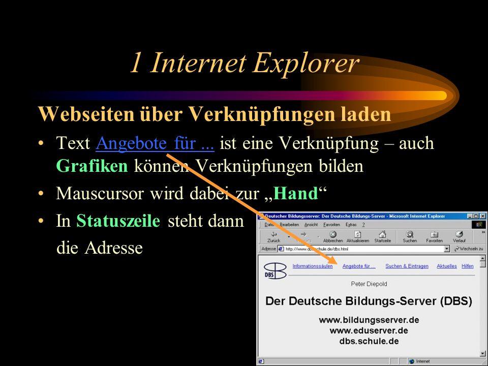 1 Internet Explorer benutzen Web-Adressen eingeben und verstehen Ins Adressfeld klicken und Adresse eingeben z.B. http://www.dbs.schule.de/dbs.html od