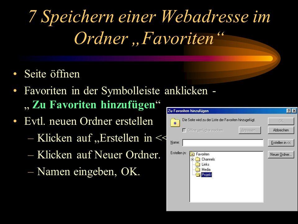 6 Informationen aus dem Internet für den Unterricht suchen (30 Minuten) Beispiele für schulbezogene Adressen: Zentralstelle für Unterrichtsmedien www.