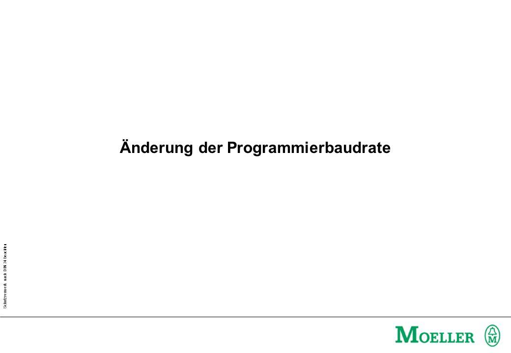 Schutzvermerk nach DIN 34 beachten Änderung der Programmierbaudrate