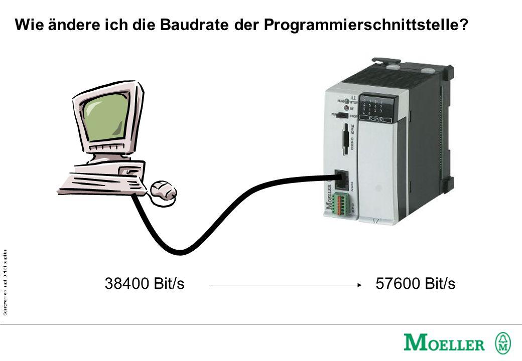 Schutzvermerk nach DIN 34 beachten Wie ändere ich die Baudrate der Programmierschnittstelle? 38400 Bit/s 57600 Bit/s