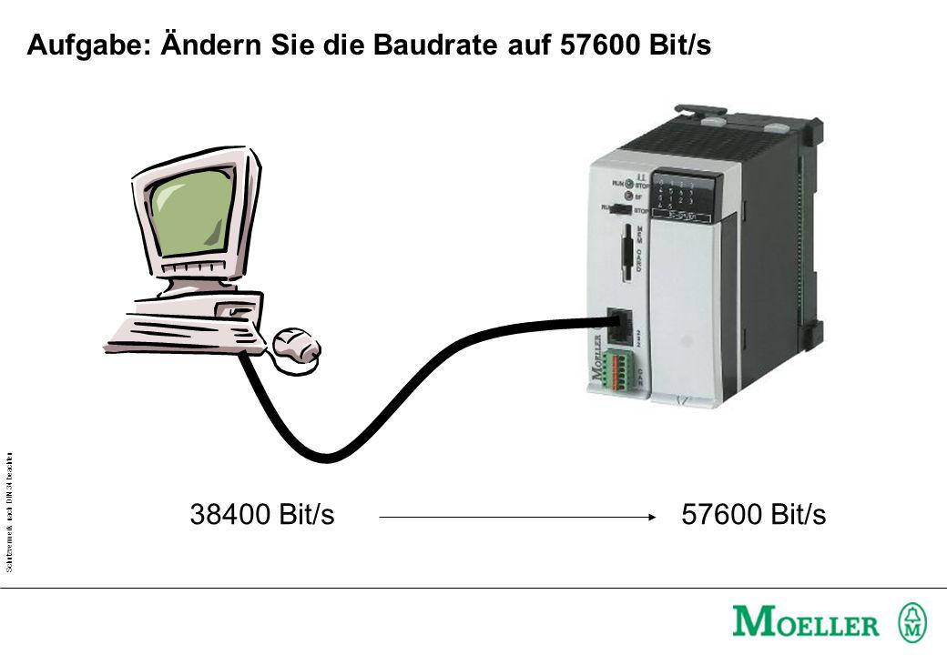 Schutzvermerk nach DIN 34 beachten Aufgabe: Ändern Sie die Baudrate auf 57600 Bit/s 38400 Bit/s 57600 Bit/s