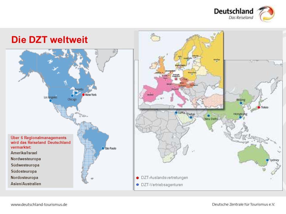 Die DZT weltweit Über 6 Regionalmanagements wird das Reiseland Deutschland vermarktet: Amerika/Israel Nordwesteuropa Südwesteuropa Südosteuropa Nordosteuropa Asien/Australien DZT-Auslandsvertretungen DZT-Vertriebsagenturen