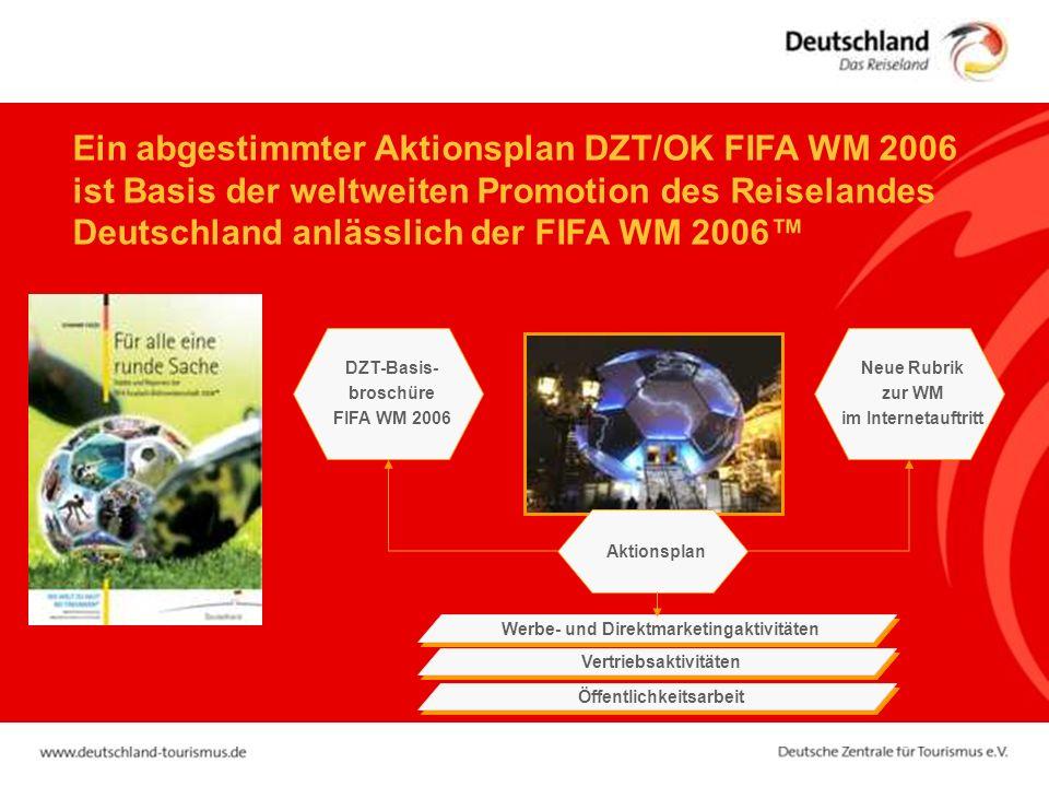 Aktionsplan DZT-Basis- broschüre FIFA WM 2006 Werbe- und Direktmarketingaktivitäten Öffentlichkeitsarbeit Vertriebsaktivitäten Neue Rubrik zur WM im Internetauftritt Ein abgestimmter Aktionsplan DZT/OK FIFA WM 2006 ist Basis der weltweiten Promotion des Reiselandes Deutschland anlässlich der FIFA WM 2006