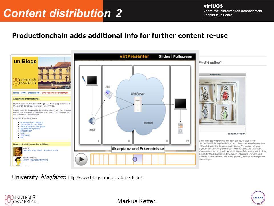 Markus Ketterl virtUOS Zentrum für Informationsmanagement und virtuelle Lehre Content distribution 2 University blogfarm: http://www.blogs.uni-osnabrueck.de/ Productionchain adds additional info for further content re-use