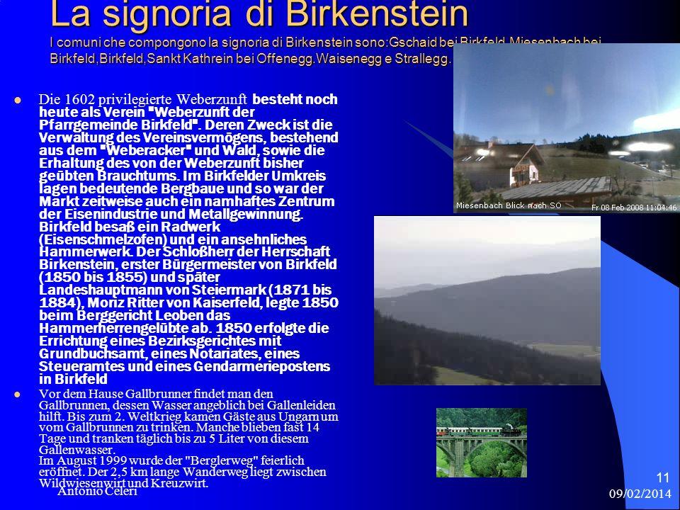 09/02/2014 Antonio Celeri 11 La signoria di Birkenstein I comuni che compongono la signoria di Birkenstein sono:Gschaid bei Birkfeld,Miesenbach bei Birkfeld,Birkfeld,Sankt Kathrein bei Offenegg.Waisenegg e Strallegg.
