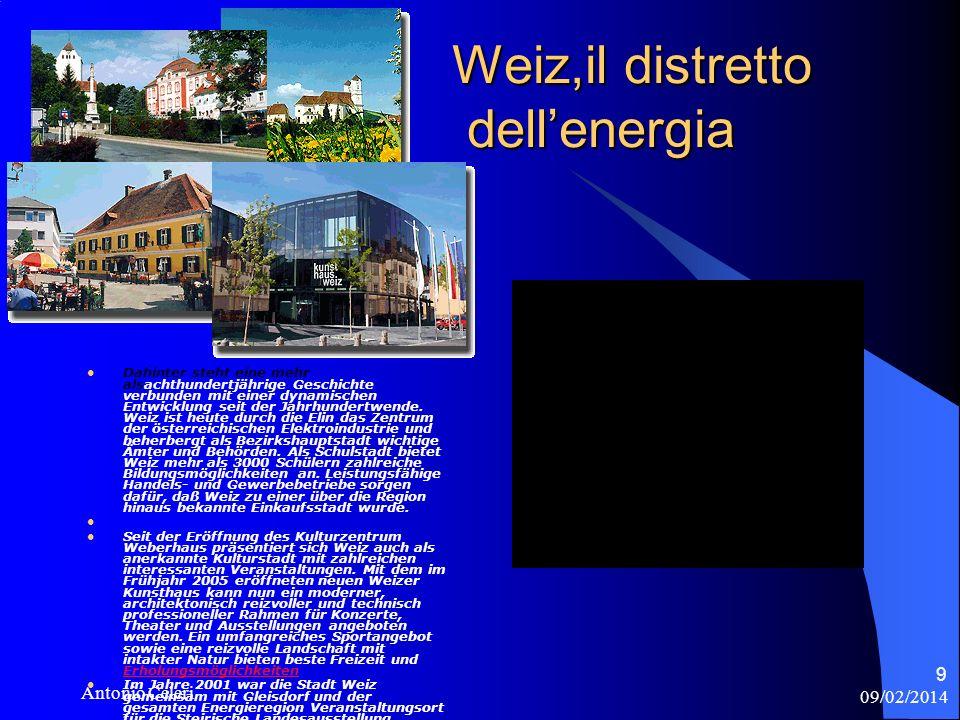 09/02/2014 Antonio Celeri 9 Weiz,il distretto dellenergia Dahinter steht eine mehr alsachthundertjährige Geschichte verbunden mit einer dynamischen Entwicklung seit der Jahrhundertwende.
