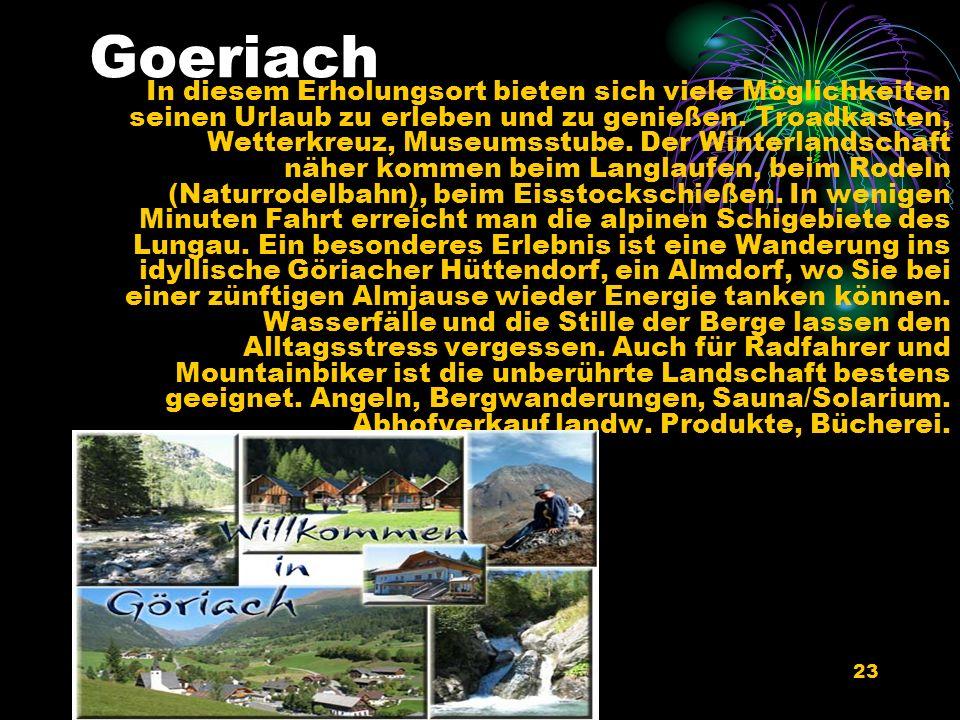 09/02/2014a cura di celeri antonio22 Die ambrosiuskapelle in Goeriachtal Im August 2004 wurde die erste Bienen- & Imkerkapelle Österreichs an unserem