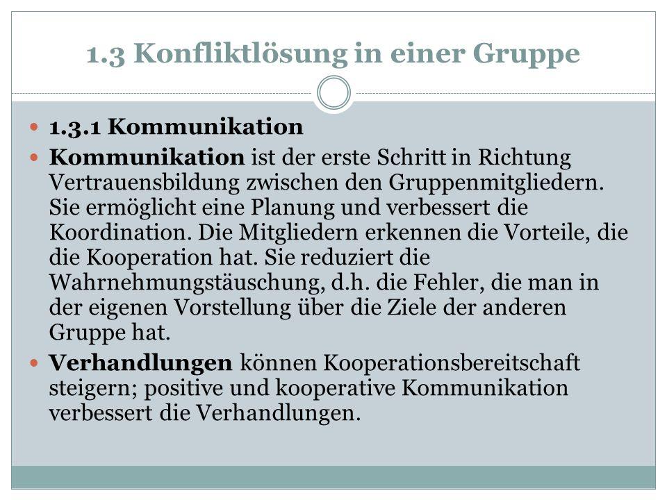 1.3 Konfliktlösung in einer Gruppe 1.3.1 Kommunikation Kommunikation ist der erste Schritt in Richtung Vertrauensbildung zwischen den Gruppenmitgliede