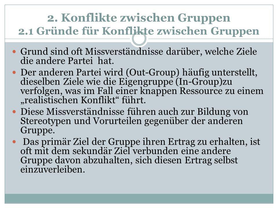 2. Konflikte zwischen Gruppen 2.1 Gründe für Konflikte zwischen Gruppen Grund sind oft Missverständnisse darüber, welche Ziele die andere Partei hat.
