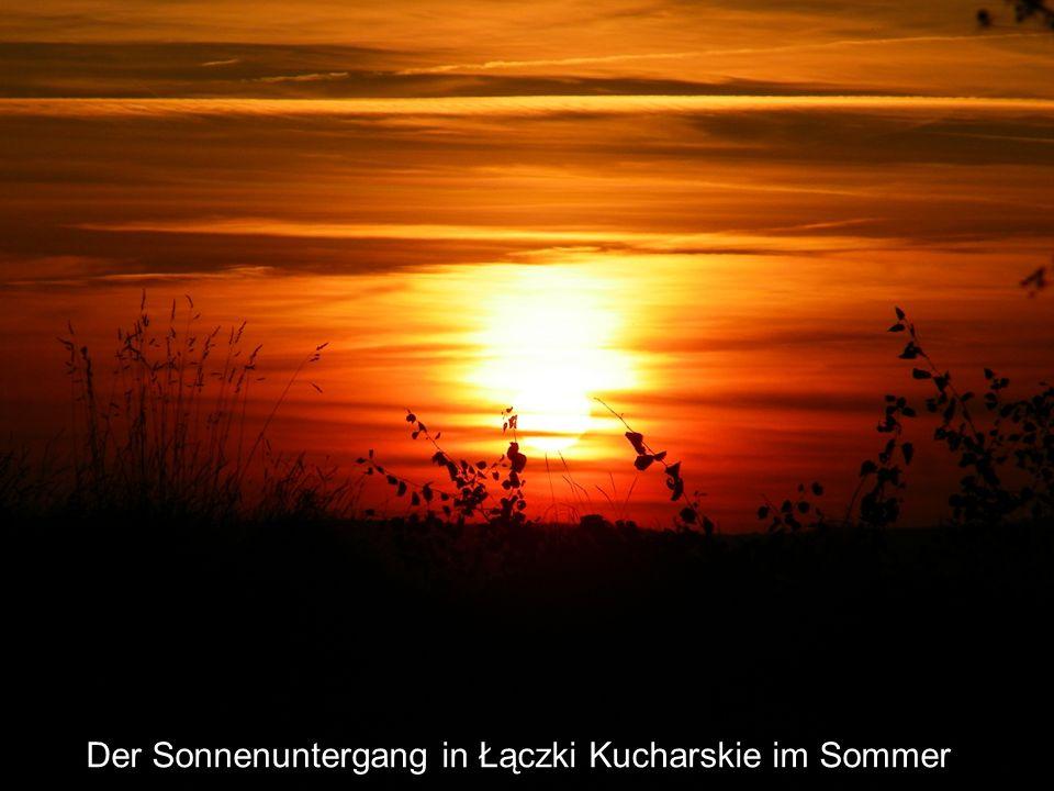 Der Sonnenuntergang in Łączki Kucharskie im Sommer