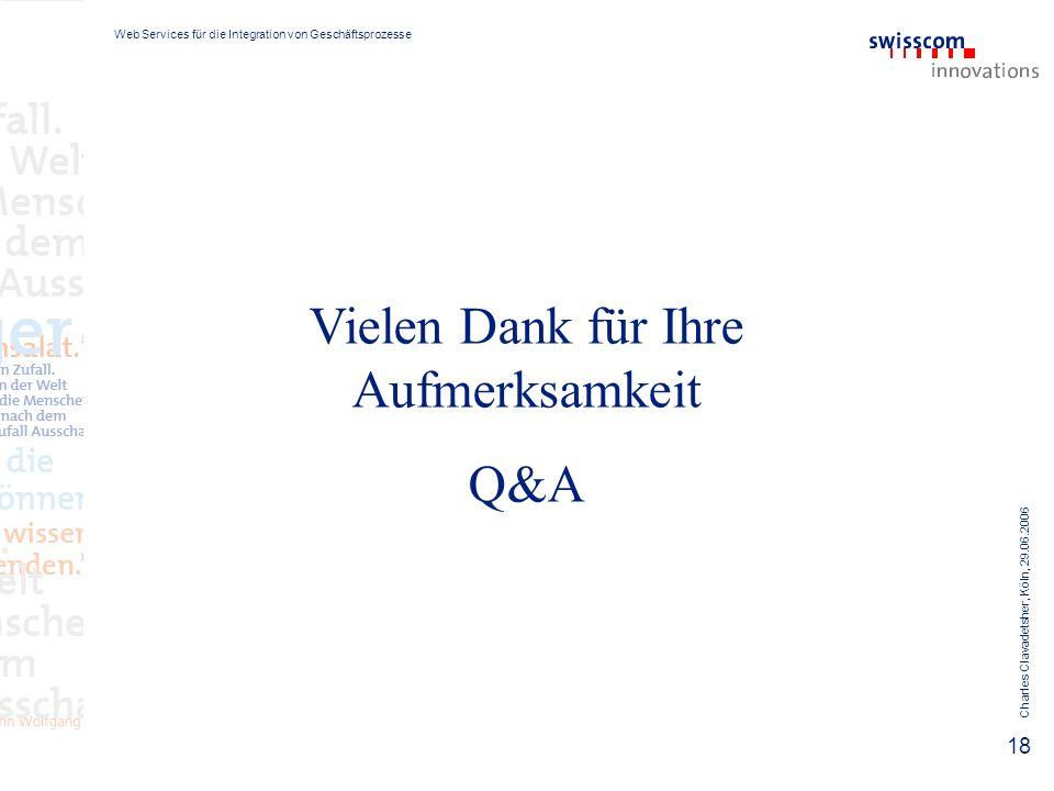 Web Services für die Integration von Geschäftsprozesse Charles Clavadetsher, Köln, 29.06.2006 18 Vielen Dank für Ihre Aufmerksamkeit Q&A