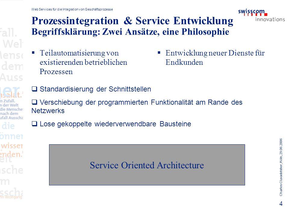 Web Services für die Integration von Geschäftsprozesse Charles Clavadetsher, Köln, 29.06.2006 15 Ausblick: Risiken & Voraussetzungen Wiederverwendbare Komponenten setzen voraus, dass zwischen Service provider und consumer Vertrauen besteht.