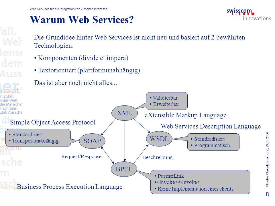 Web Services für die Integration von Geschäftsprozesse Charles Clavadetsher, Köln, 29.06.2006 9 Komplexität reduzieren Service WSDL User