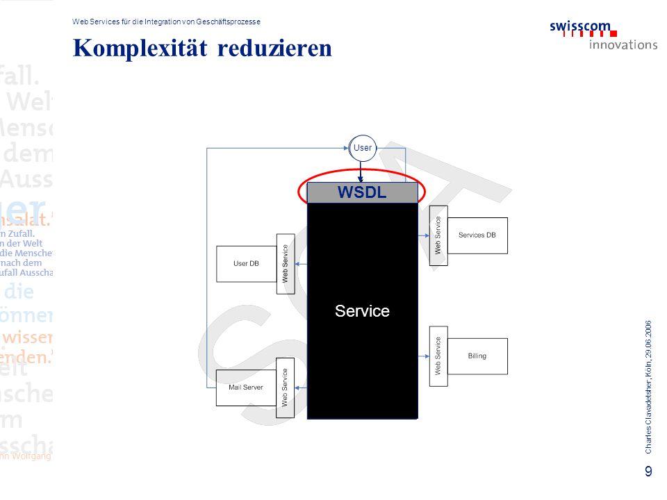 Web Services für die Integration von Geschäftsprozesse Charles Clavadetsher, Köln, 29.06.2006 10 User Komplexität reduzieren Skalierbarkeit erhöhen