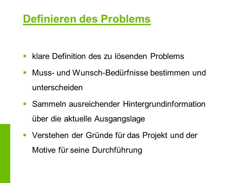 Definieren des Problems klare Definition des zu lösenden Problems Muss- und Wunsch-Bedürfnisse bestimmen und unterscheiden Sammeln ausreichender Hinte