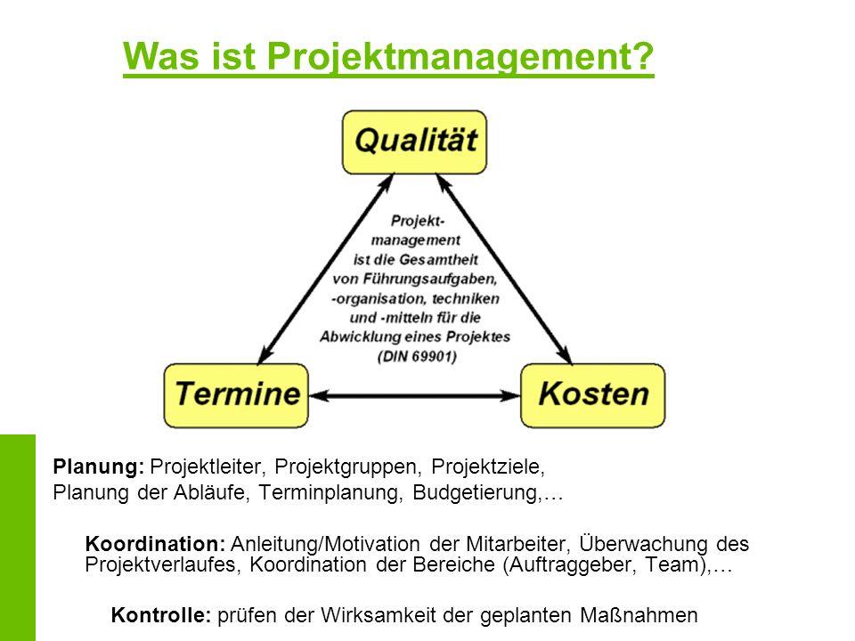 Was ist Projektmanagement? Planung: Projektleiter, Projektgruppen, Projektziele, Planung der Abläufe, Terminplanung, Budgetierung,… Koordination: Anle