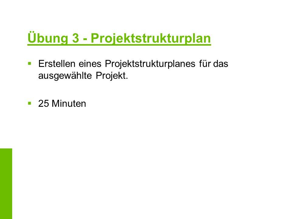 Übung 3 - Projektstrukturplan Erstellen eines Projektstrukturplanes für das ausgewählte Projekt. 25 Minuten