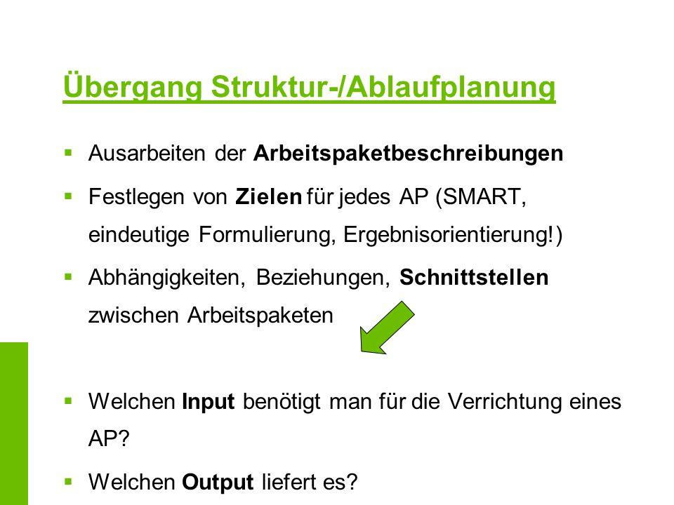 Übergang Struktur-/Ablaufplanung Ausarbeiten der Arbeitspaketbeschreibungen Festlegen von Zielen für jedes AP (SMART, eindeutige Formulierung, Ergebni