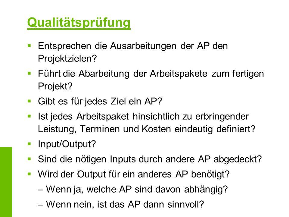 Qualitätsprüfung Entsprechen die Ausarbeitungen der AP den Projektzielen? Führt die Abarbeitung der Arbeitspakete zum fertigen Projekt? Gibt es für je