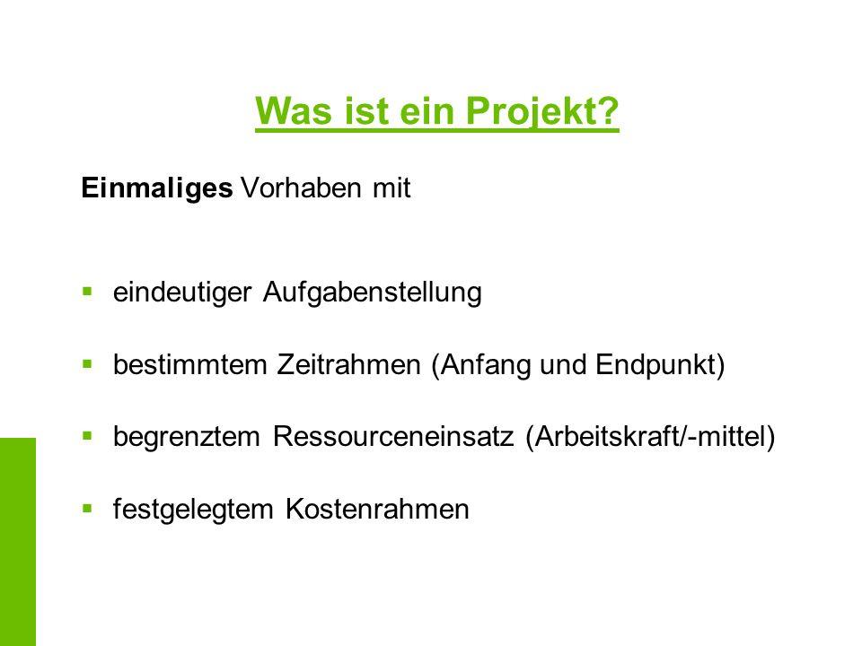 Was ist ein Projekt? Einmaliges Vorhaben mit eindeutiger Aufgabenstellung bestimmtem Zeitrahmen (Anfang und Endpunkt) begrenztem Ressourceneinsatz (Ar