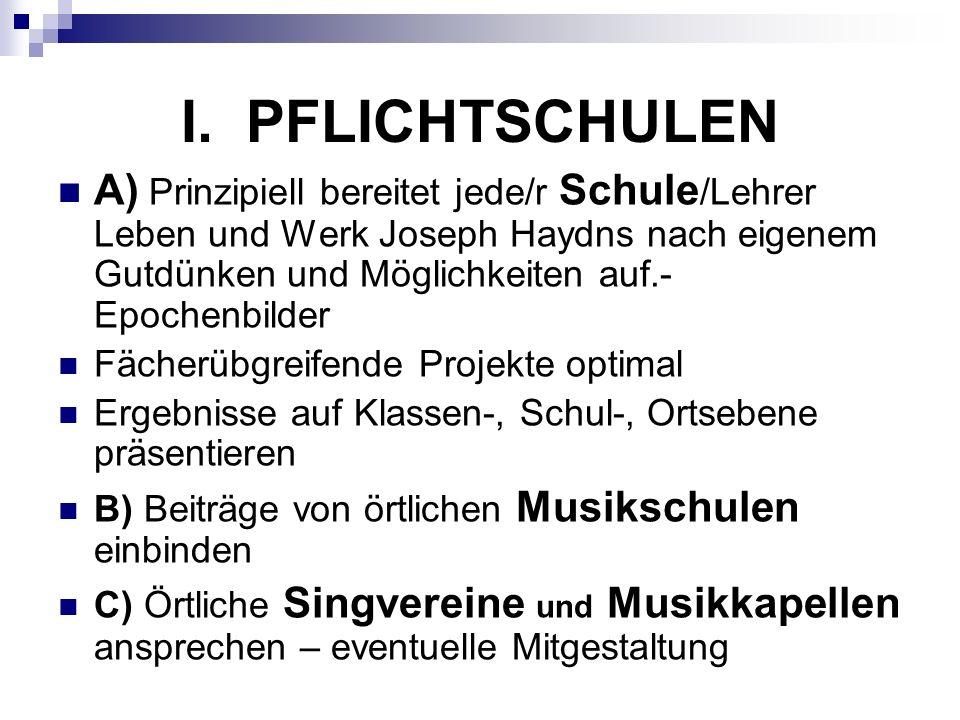I. PFLICHTSCHULEN A) Prinzipiell bereitet jede/r Schule /Lehrer Leben und Werk Joseph Haydns nach eigenem Gutdünken und Möglichkeiten auf.- Epochenbil