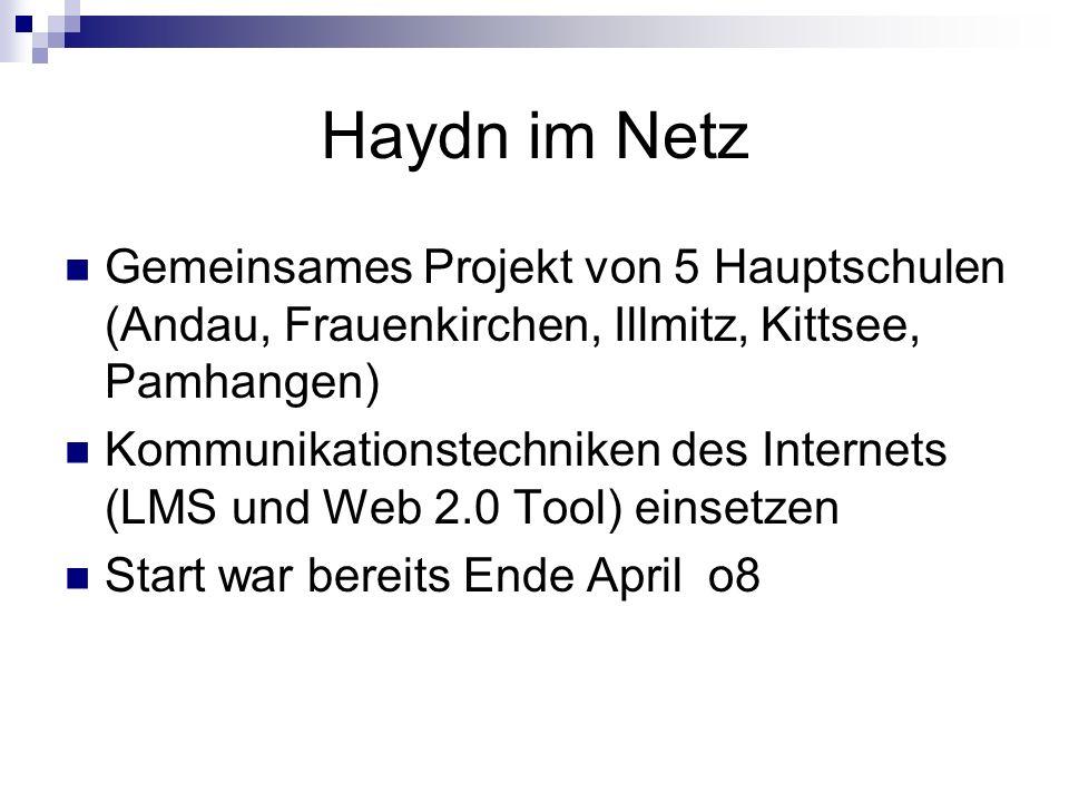Haydn im Netz Gemeinsames Projekt von 5 Hauptschulen (Andau, Frauenkirchen, Illmitz, Kittsee, Pamhangen) Kommunikationstechniken des Internets (LMS un