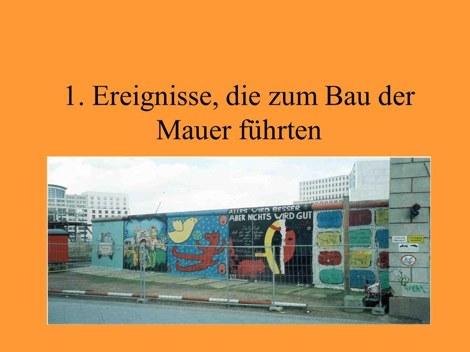 2.700.000 Ostdeutsche (3.400 Ärzte, 17.000 Lehrer, 17.000 Ingenieure) flüchteten nach Westdeutschland zwischen 1949-1961 1.600.000 flüchteten über Berlin