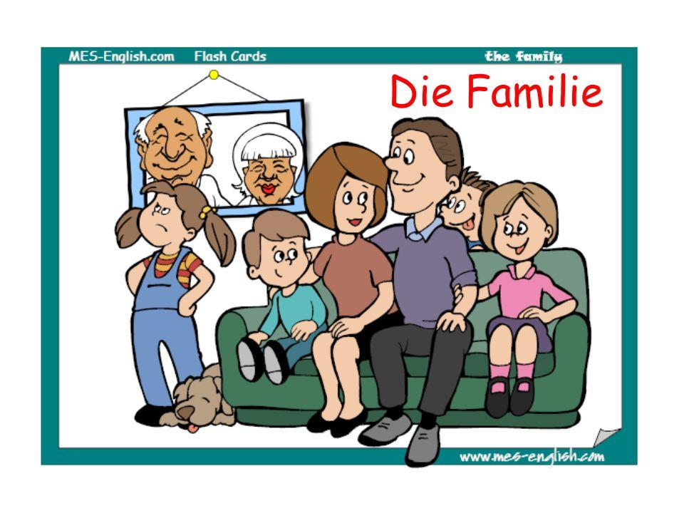 Meine ganze Familie sitzt auf dem Sofa.Der Hund ist auch da.