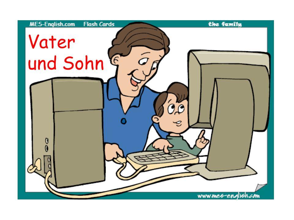 Das sind Vater und Sohn.A. Sie spielen ein Videospiel.