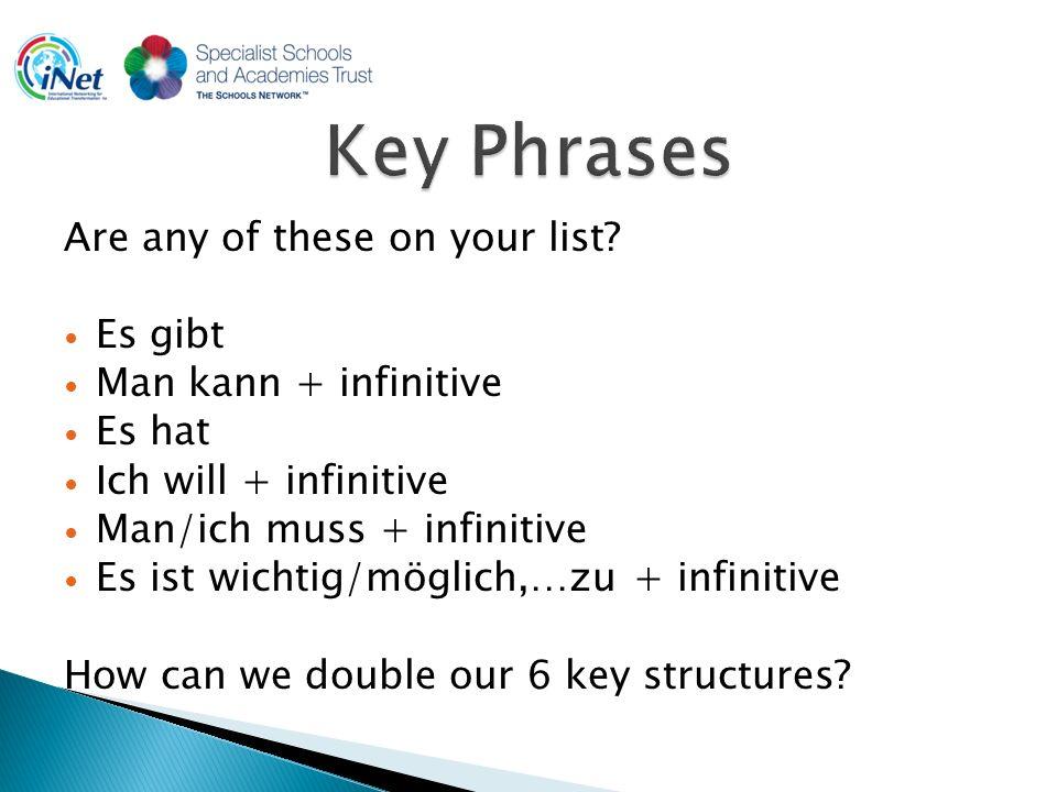 Es gibt keinen/keine/kein Man kann nicht + infinitive Es hat keinen/keine/kein Ich will nicht + infinitive Man/ich muss nicht + infinitive Es ist nicht wichtig/möglich,…zu + infinitive How can we add a further 6 phrases?