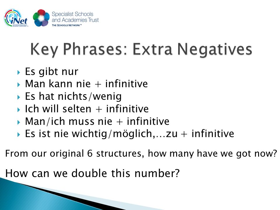 Es gibt nur Man kann nie + infinitive Es hat nichts/wenig Ich will selten + infinitive Man/ich muss nie + infinitive Es ist nie wichtig/möglich,…zu + infinitive From our original 6 structures, how many have we got now.