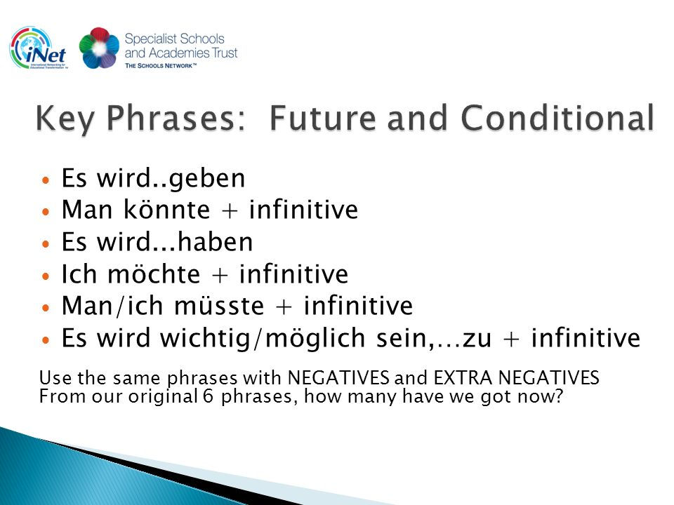 Es wird..geben Man könnte + infinitive Es wird...haben Ich möchte + infinitive Man/ich müsste + infinitive Es wird wichtig/möglich sein,…zu + infinitive Use the same phrases with NEGATIVES and EXTRA NEGATIVES From our original 6 phrases, how many have we got now