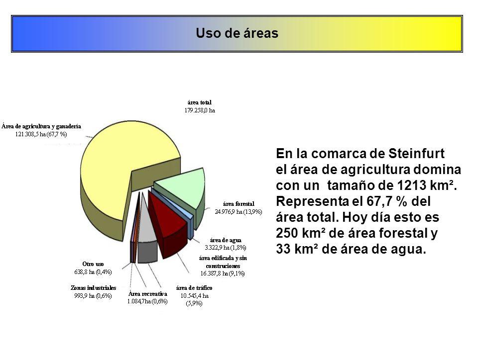 En la comarca de Steinfurt el área de agricultura domina con un tamaño de 1213 km². Representa el 67,7 % del área total. Hoy día esto es 250 km² de ár