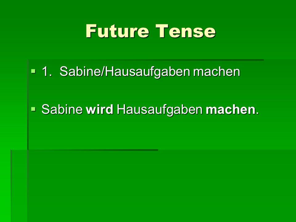 Future Tense 1. Sabine/Hausaufgaben machen 1. Sabine/Hausaufgaben machen Sabine wird Hausaufgaben machen. Sabine wird Hausaufgaben machen.