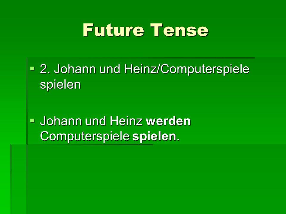 Future Tense 2. Johann und Heinz/Computerspiele spielen 2. Johann und Heinz/Computerspiele spielen Johann und Heinz werden Computerspiele spielen. Joh
