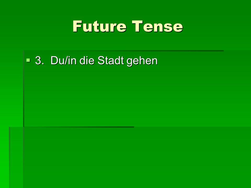 Future Tense 3. Du/in die Stadt gehen 3. Du/in die Stadt gehen