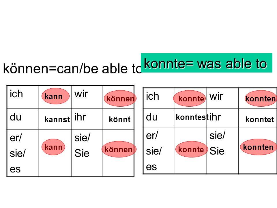können=can/be able to ichwir duihr er/ sie/ es sie/ Sie ichwir duihr er/ sie/ es sie/ Sie konnte= was able to kann kannst kann können könnt konnte kon