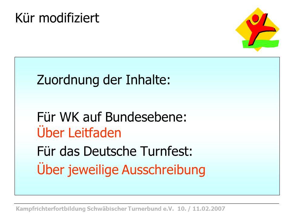 Kampfrichterfortbildung Schwäbischer Turnerbund e.V. 10. / 11.02.2007 KM Stufe 2