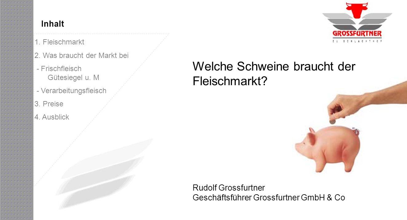 Welche Schweine braucht der Fleischmarkt? Rudolf Grossfurtner Geschäftsführer Grossfurtner GmbH & Co Inhalt 1. Fleischmarkt 2. Was braucht der Markt b
