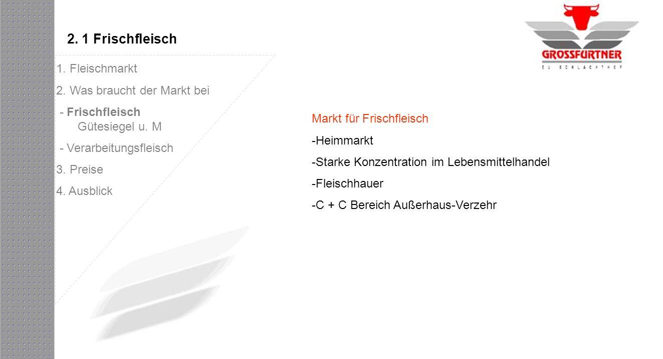 2. 1 Frischfleisch Markt für Frischfleisch -Heimmarkt -Starke Konzentration im Lebensmittelhandel -Fleischhauer -C + C Bereich Außerhaus-Verzehr 1. Fl