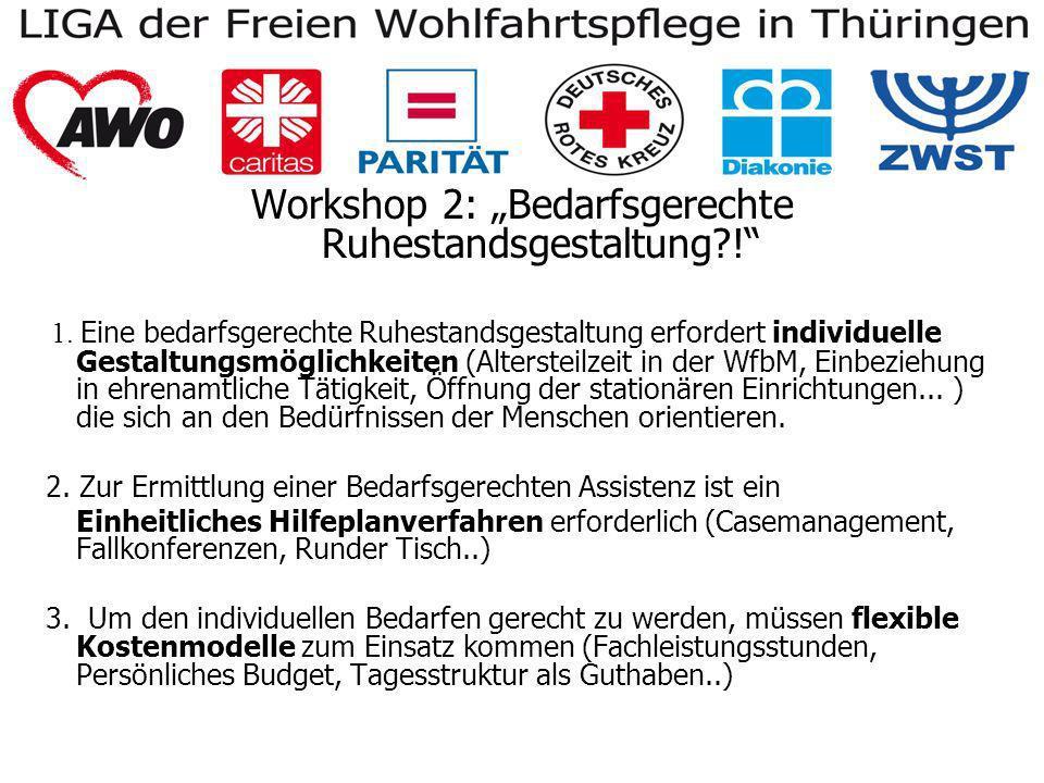 Workshop 2: Bedarfsgerechte Ruhestandsgestaltung .