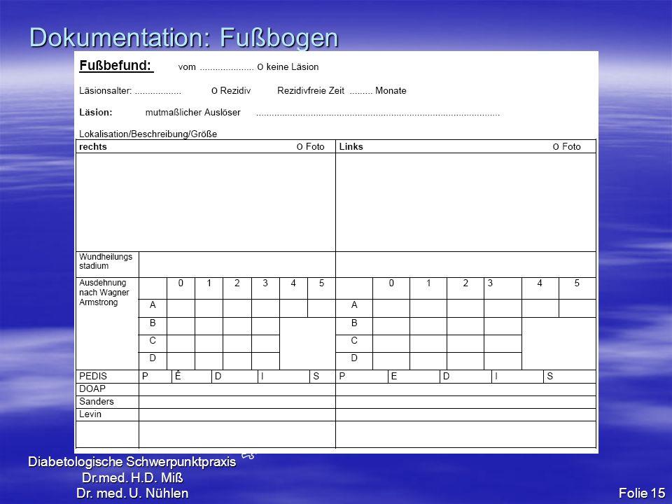 Diabetologische Schwerpunktpraxis Dr.med. H.D. Miß Dr. med. U. Nühlen Folie 15 Dokumentation: Fußbogen