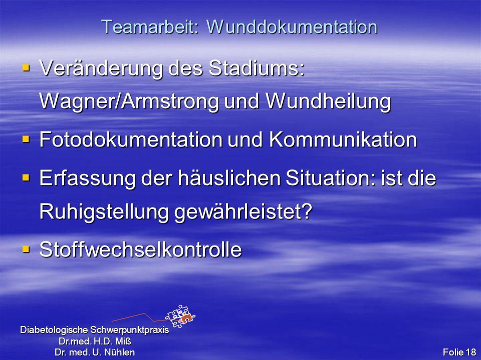 Diabetologische Schwerpunktpraxis Dr.med. H.D. Miß Dr. med. U. Nühlen Folie 18 Teamarbeit: Wunddokumentation Veränderung des Stadiums: Wagner/Armstron