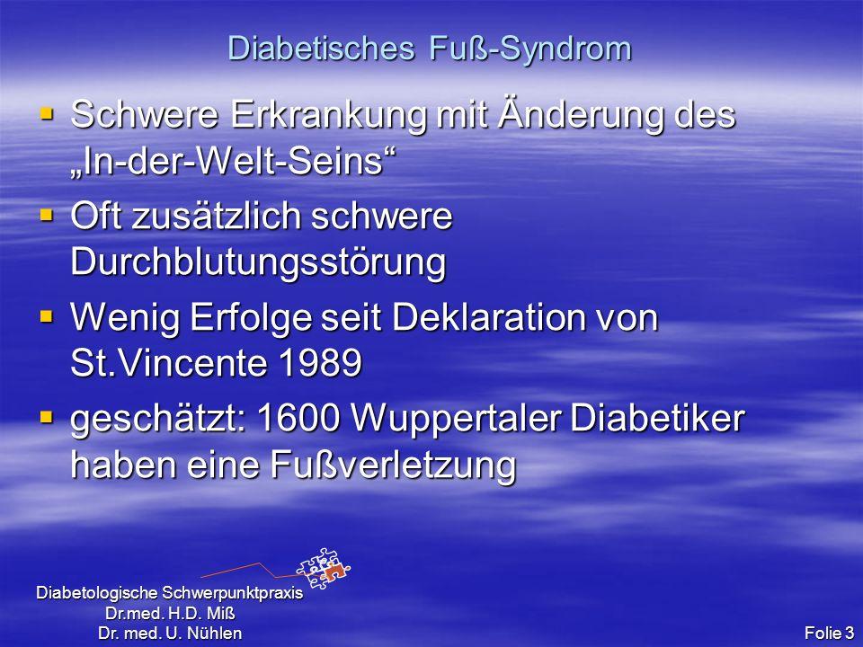 Diabetologische Schwerpunktpraxis Dr.med. H.D. Miß Dr. med. U. Nühlen Folie 3 Diabetisches Fuß-Syndrom Schwere Erkrankung mit Änderung des In-der-Welt