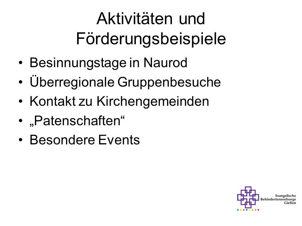 Aktivitäten und Förderungsbeispiele Besinnungstage in Naurod Überregionale Gruppenbesuche Kontakt zu Kirchengemeinden Patenschaften Besondere Events