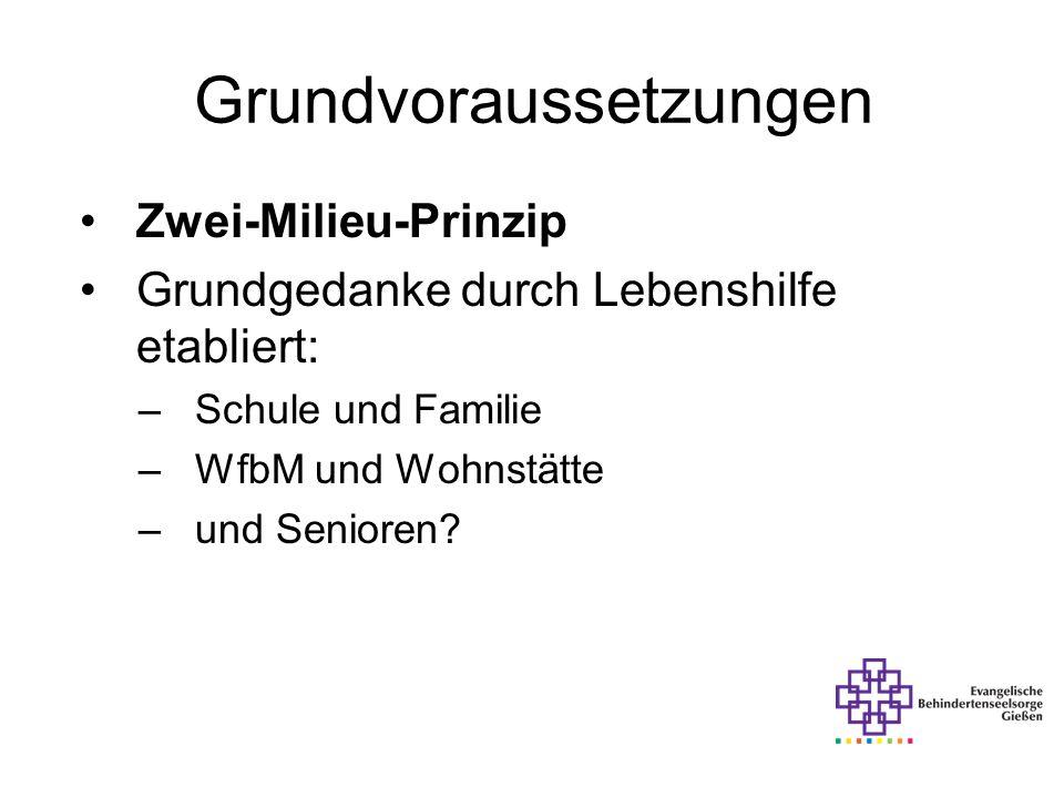 Grundvoraussetzungen Zwei-Milieu-Prinzip Grundgedanke durch Lebenshilfe etabliert: –Schule und Familie –WfbM und Wohnstätte –und Senioren?