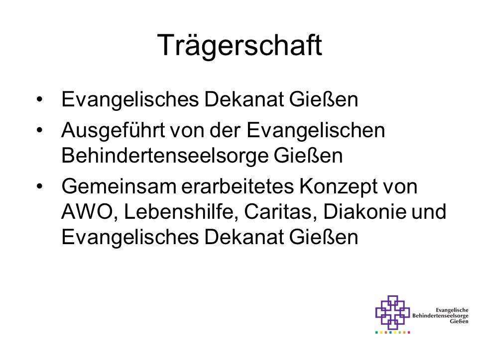 Trägerschaft Evangelisches Dekanat Gießen Ausgeführt von der Evangelischen Behindertenseelsorge Gießen Gemeinsam erarbeitetes Konzept von AWO, Lebensh